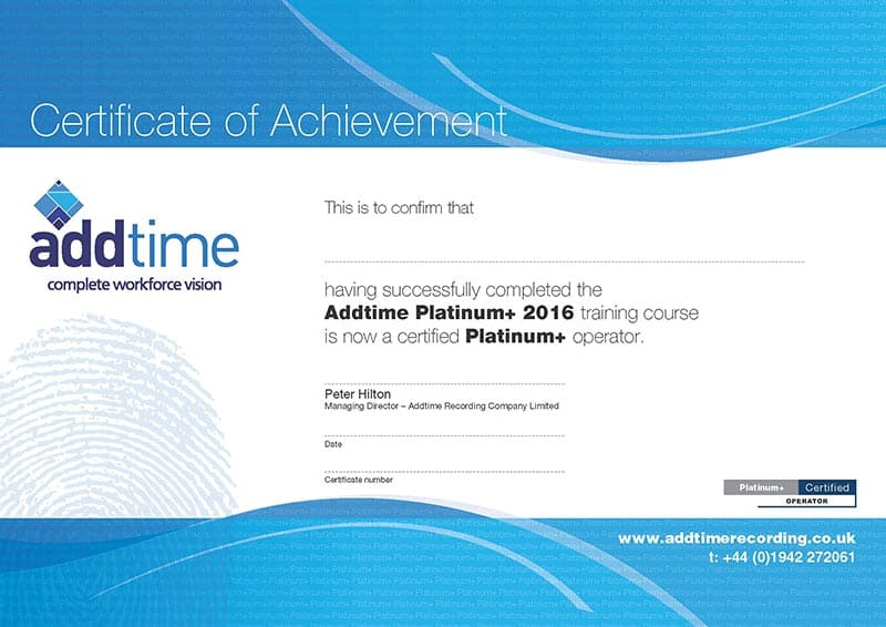 Platinum+ Training Certificate