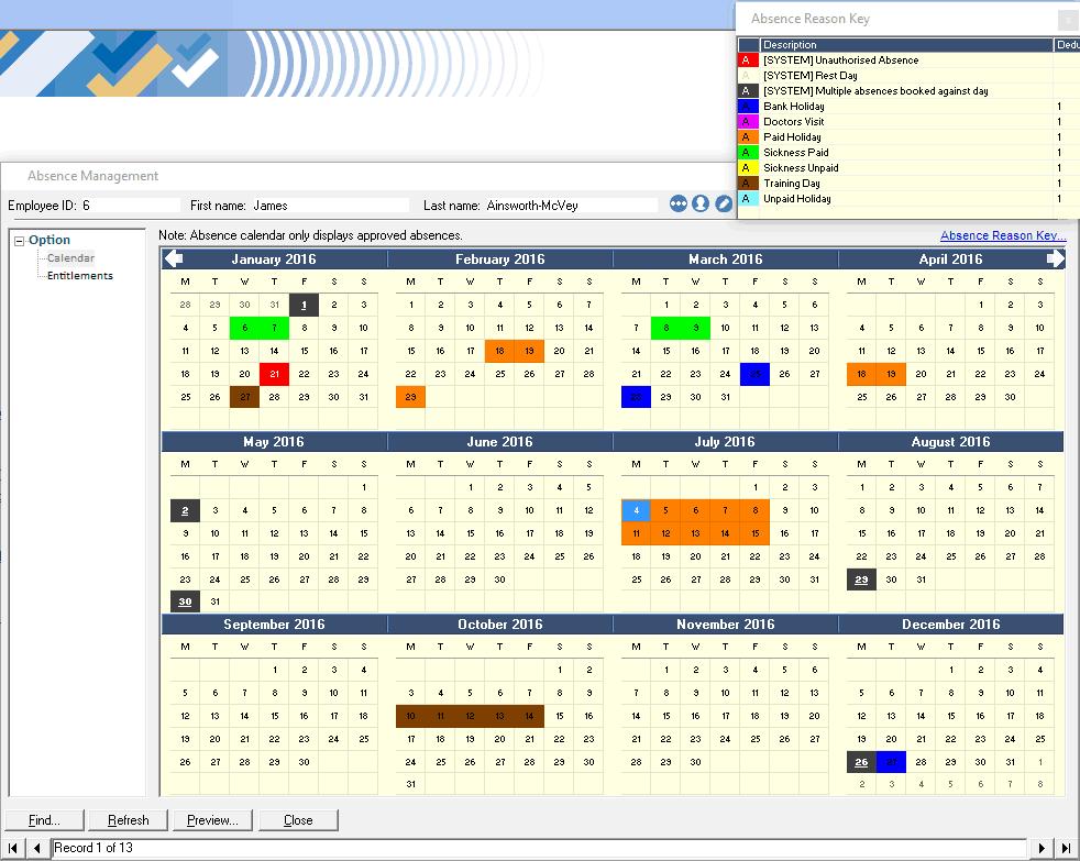 Absence Calendar With Key