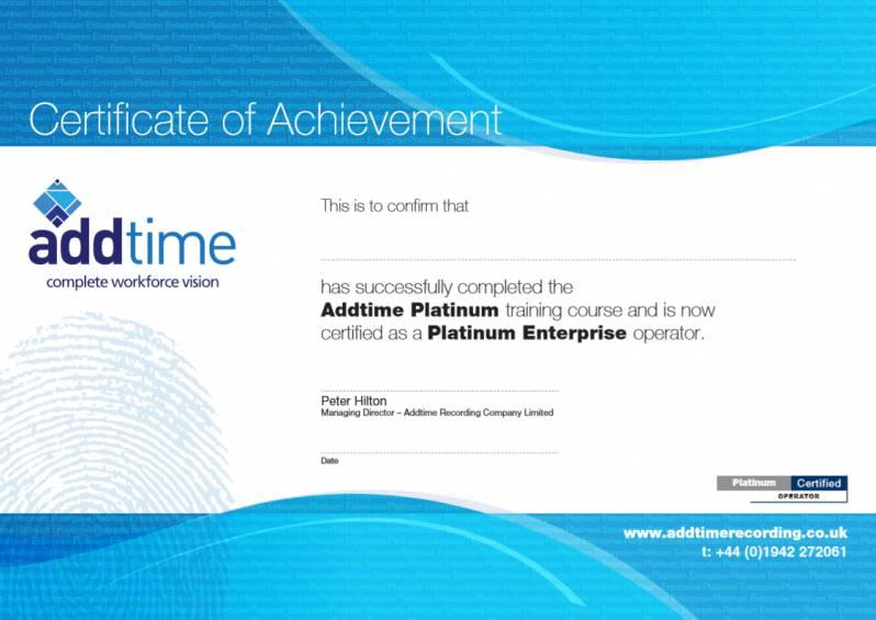 Platinum Enterprise Training Certificate